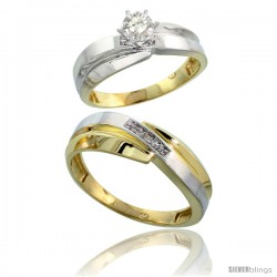 Gold Plated Sterling Silver 2-Piece Diamond Wedding Engagement Ring Set for Him & Her, 6mm & 7mm wide