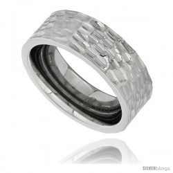 Surgical Steel 8mm Wedding Band Ring Hammered Finish