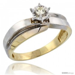 Gold Plated Sterling Silver Diamond Engagement Ring, 1/4 in wide
