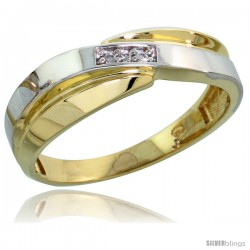 Gold Plated Sterling Silver Ladies Diamond Wedding Band, 1/4 in wide