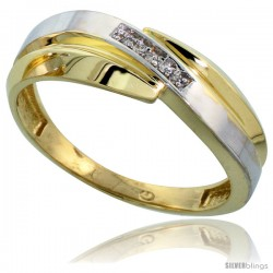 Gold Plated Sterling Silver Mens Diamond Wedding Band, 9/32 in wide