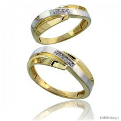 Gold Plated Sterling Silver Diamond 2 Piece Wedding Ring Set His 7mm & Hers 6mm