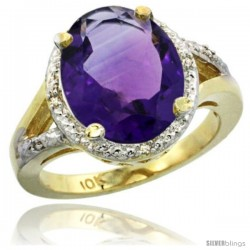 10k Yellow Gold Ladies Natural Amethyst Ring oval 12x10 Stone