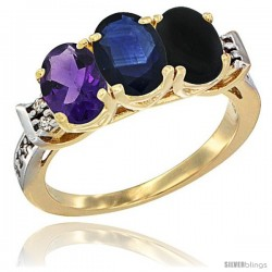 10K Yellow Gold Natural Amethyst, Blue Sapphire & Black Onyx Ring 3-Stone Oval 7x5 mm Diamond Accent