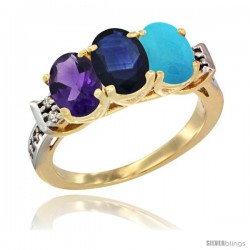 10K Yellow Gold Natural Amethyst, Blue Sapphire & Turquoise Ring 3-Stone Oval 7x5 mm Diamond Accent