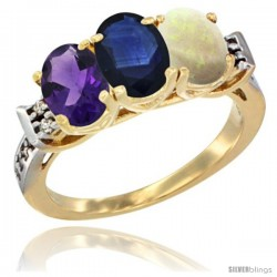 10K Yellow Gold Natural Amethyst, Blue Sapphire & Opal Ring 3-Stone Oval 7x5 mm Diamond Accent