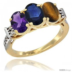 10K Yellow Gold Natural Amethyst, Blue Sapphire & Tiger Eye Ring 3-Stone Oval 7x5 mm Diamond Accent