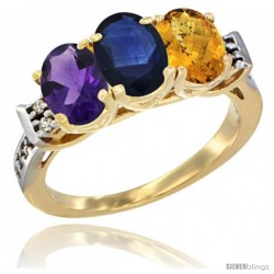 10K Yellow Gold Natural Amethyst, Blue Sapphire & Whisky Quartz Ring 3-Stone Oval 7x5 mm Diamond Accent