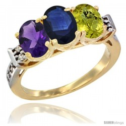 10K Yellow Gold Natural Amethyst, Blue Sapphire & Lemon Quartz Ring 3-Stone Oval 7x5 mm Diamond Accent