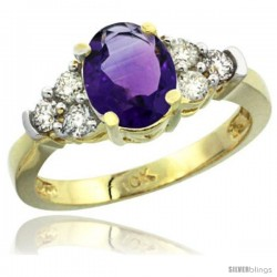 10k Yellow Gold Ladies Natural Amethyst Ring oval 9x7 Stone