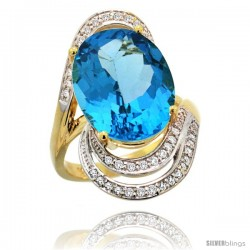 14k Gold Natural Swiss Blue Topaz Ring 16x12 mm Oval Shape Diamond Halo, 1 in