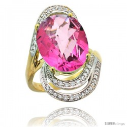 14k Gold Natural Pink Topaz Ring 16x12 mm Oval Shape Diamond Halo, 1 in