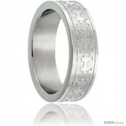 Surgical Steel 6 mm Autism Awareness Jigsaw Puzzle Wedding Band Ring