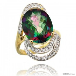 14k Gold Natural Mystic Topaz Ring 16x12 mm Oval Shape Diamond Halo, 1 in