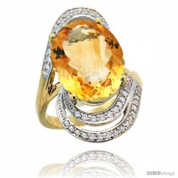 14k Gold Natural Citrine Ring 16x12 mm Oval Shape Diamond Halo, 1 in