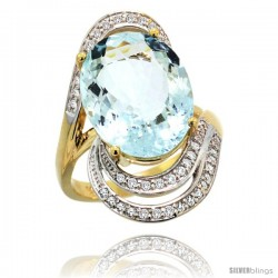 14k Gold Natural Aquamarine Ring 16x12 mm Oval Shape Diamond Halo, 1 in