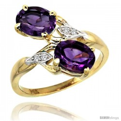 14k Gold ( 8x6 mm ) Double Stone Engagement Amethyst Ring w/ 0.04 Carat Brilliant Cut Diamonds & 2.34 Carats Oval Cut Stones