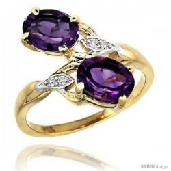 14k Gold ( 8x6 mm ) Double Stone Engagement Amethyst Ring w/ 0.04 Carat Brilliant Cut Diamonds & 2.34 Carats Oval Cut Stones