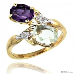 14k Gold ( 8x6 mm ) Double Stone Engagement Purple & Green Amethyst Ring w/ 0.04 Carat Brilliant Cut Diamonds & 2.34 Carats