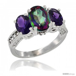 14K White Gold Ladies 3-Stone Oval Natural Mystic Topaz Ring with Amethyst Sides Diamond Accent