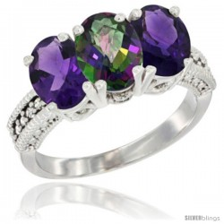 14K White Gold Natural Mystic Topaz & Amethyst Ring 3-Stone 7x5 mm Oval Diamond Accent