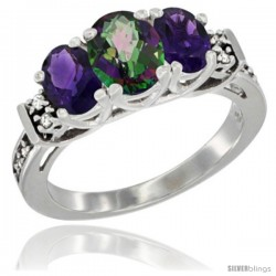 14K White Gold Natural Mystic Topaz & Amethyst Ring 3-Stone Oval with Diamond Accent