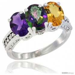 14K White Gold Natural Amethyst, Mystic Topaz & Citrine Ring 3-Stone 7x5 mm Oval Diamond Accent