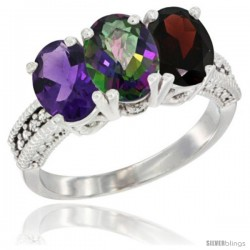 14K White Gold Natural Amethyst, Mystic Topaz & Garnet Ring 3-Stone 7x5 mm Oval Diamond Accent