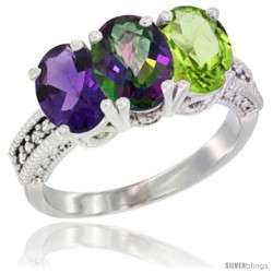 14K White Gold Natural Amethyst, Mystic Topaz & Peridot Ring 3-Stone 7x5 mm Oval Diamond Accent