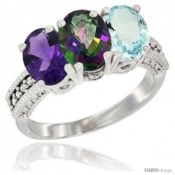 14K White Gold Natural Amethyst, Mystic Topaz & Aquamarine Ring 3-Stone 7x5 mm Oval Diamond Accent