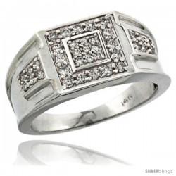14k White Gold Heavy & Solid Men's Diamond Ring, w/ 0.54 Carat Brilliant Cut ( H-I Color VS2-SI1 Clarity ) Diamonds, 7/16 in