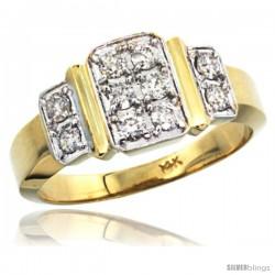 14k White Gold Men's Striped Diamond Ring, w/ 0.73 Carat Brilliant Cut ( H-I Color VS2-SI1 Clarity ) Diamonds, -Style M318401y