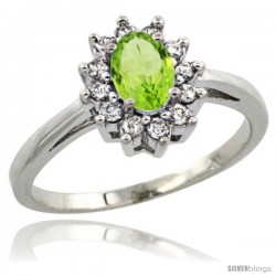 Sterling Silver Natural Peridot Diamond Halo Ring Oval Shape 1.2 Carat 6X4 mm, 1/2 in wide