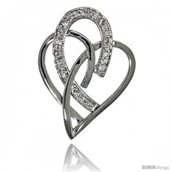 14k White Gold 18 in. Thin Chain & Interlacing Heart Cut Outs Diamond Pendant w/ 0.24 Carat Brilliant Cut ( H-I Color VS2-SI1