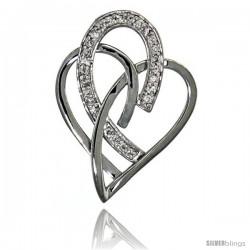 14k White Gold 18 in. Thin Chain & Interlacing Heart Cut Outs Diamond Pendant w/ 0.24 Carat Brilliant Cut ( H-I Color VS2-SI1
