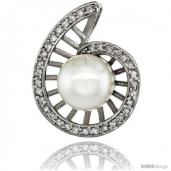 14k White Gold 18 in. Thin Chain & Swirl Pearl Pendant w/ 0.19 Carat Brilliant Cut ( H-I Color VS2-SI1 Clarity ) Diamonds