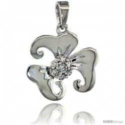 14k White Gold 18 in. Thin Chain & 7-Stone Flower Pendant w/ 0.22 Carat Brilliant Cut ( H-I Color VS2-SI1 Clarity ) Diamonds