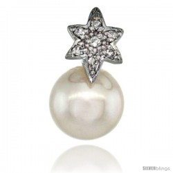 14k White Gold 18 in. Thin Chain & Flower Pearl Pendant w/ 0.07 Carat Brilliant Cut ( H-I Color VS2-SI1 Clarity ) Diamonds