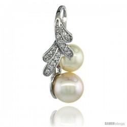 14k White Gold 18 in. Thin Chain & Ribbon Pearl Pendant w/ 0.14 Carat Brilliant Cut ( H-I Color VS2-SI1 Clarity ) Diamonds