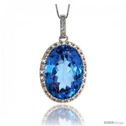 "14k White Gold 18"" Chain & 1 1/8"" (29mm) tall Blue Topaz Pendant, w/ 0.25 Carat Brilliant Cut Diamonds & 17.45 Carats 18x12mm"