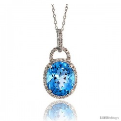 "14k White Gold 18"" Chain & 7/8"" (23mm) tall Blue Topaz Pendant, w/ 0.15 Carat Brilliant Cut Diamonds & 4.70 Carats 11x9mm Oval"