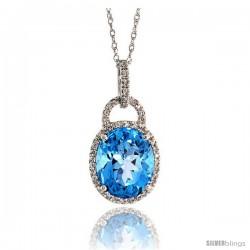 "14k White Gold 18"" Chain & 7/8"" (23mm) tall Blue Topaz Pendant, w/ 0.15 Carat Brilliant Cut Diamonds & 4.70 Carats 11x9mm Oval"