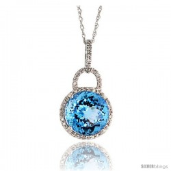 "14k White Gold 18"" Chain & 7/8"" (23mm) tall Blue Topaz Pendant, w/ 0.12 Carat Brilliant Cut Diamonds & 4.96 Carats 10mm"