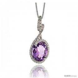 """14k White Gold 18"""" Chain & 1"""" (26mm) tall Swirl Pendant, w/ 0.26 Carat Brilliant Cut Diamonds & 3.71 Carats 11x9mm Oval Cut"""