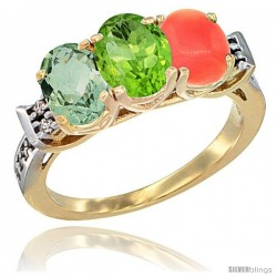 10K Yellow Gold Natural Green Amethyst, Peridot & Coral Ring 3-Stone Oval 7x5 mm Diamond Accent