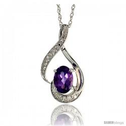"""14k White Gold 18"""" Chain & 3/4"""" (20mm) tall Loop Pendant, w/ 0.07 Carat Brilliant Cut Diamonds & 0.72 Carat 7x5mm Oval Cut"""