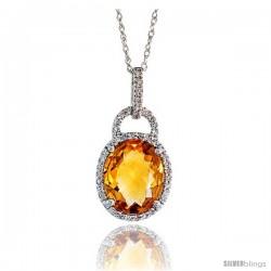 "14k White Gold 18"" Chain & 7/8"" (23mm) tall Citrine Pendant, w/ 0.15 Carat Brilliant Cut Diamonds & 4.70 Carats 11x9mm Oval Cut"