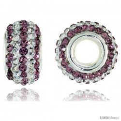 Sterling Silver Crystal Bead Charm White & Lavender Color w/ Swarovski Elements, 13 mm