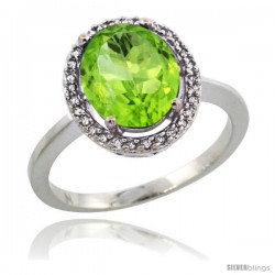Sterling Silver Diamond Halo Natural Peridot Ring 2.4 carat Oval shape 10X8 mm, 1/2 in (12.5mm) wide