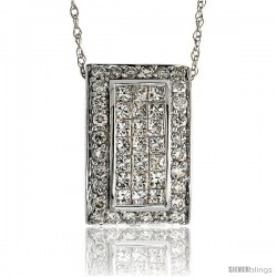 "14k White Gold 18"" Chain & 5/8"" (16mm) tall Rectangular Diamond Pendant Slide, w/ 1.10 Carats Brilliant Cut & Invisible Set"